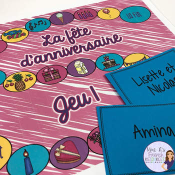 French birthday party vocabulary board game LA FÊTE D'ANNIVERSAIRE