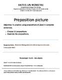 French - body parts, reflexive verbs, scavenger hunt, prep