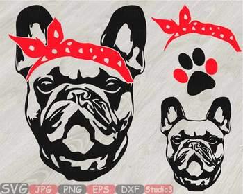 French Bulldog Head Whit Bandana Silhouette Svg Cute Dog Clipart