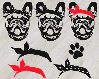 French bulldog Head Whit Bandana Silhouette SVG cute dog clipart Family Pet 816s