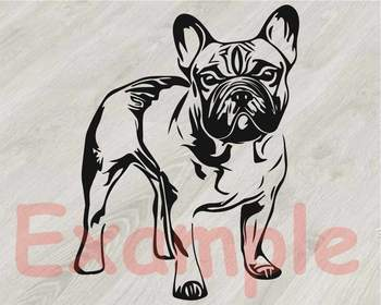 French bulldog Silhouette SVG clipart cut layer cute Dog paw Family Pet 817S