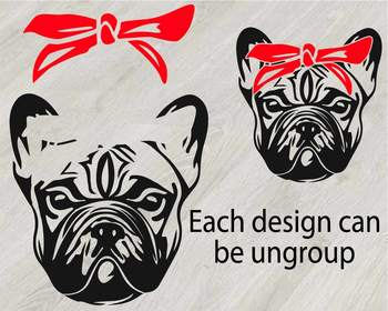 French bulldog Silhouette SVG clipart cut layer cute Dog paw Family Pet 818S