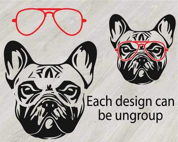 French bulldog whit Glasses Silhouette SVG clipart Head Dog paw Family Pet 819S