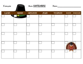 French calendar  for homework, participation points, events