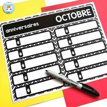 French calendar set | birthdays | days in school MODERN CHEVRON
