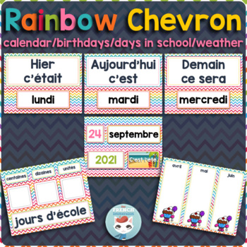 French calendar set | birthdays | days in school RAINBOW CHEVRON