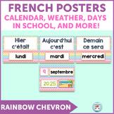 French calendar set | birthdays | days in school RAINBOW CHEVRON