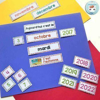 French calendar set | birthdays | days in school RAINBOW DOTS