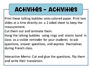 French class decoration - Double sided talking bubbles