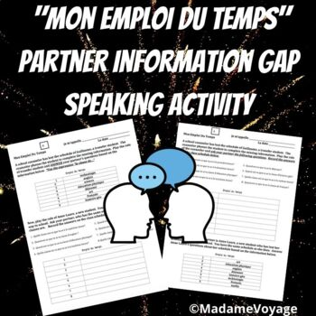 French class schedule partner speaking activity