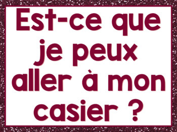 French classroom expressions posters - glitter version