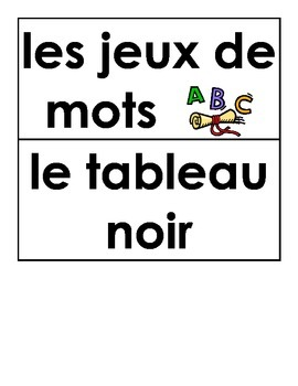 French classroom labels (label the room flashcards)