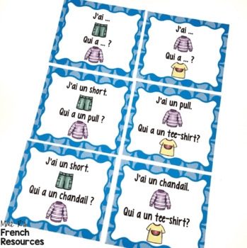 French clothing vocabulary game J'AI... QUI A ...? VÊTEMENTS