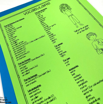 French clothing vocabulary game/jeu de vocabulaire- les vêtements