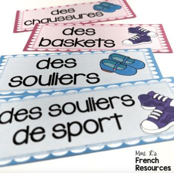French clothing word wall MUR DE MOTS LES VÊTEMENTS