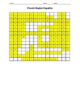French cognate wordsearch