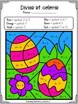 French color by code / Coloriage magique MATHS Pâques