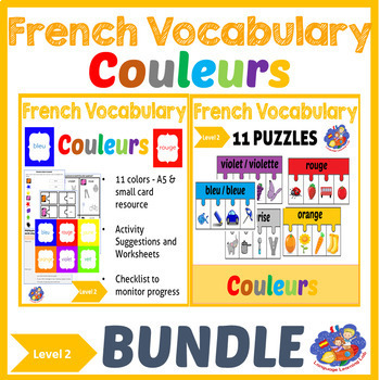 French colors - Vocabulary Bundle - French Immersion Level 2 - Les couleurs!