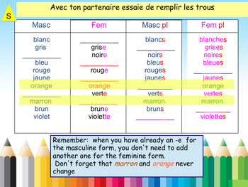 French colors, couleurs PPT for beginners