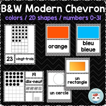 French colors | numbers | 2D shapes POSTERS | MODERN CHEVRON