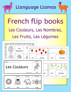 French colors, numbers, fruit, vegetables - fun flipbooks to color and assemble