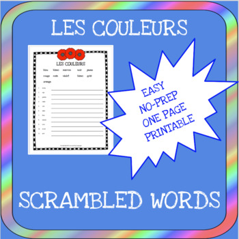 Primary French colors scrambled words worksheet - Les couleurs