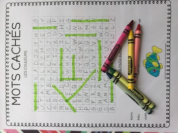 Primary French colors word search activities - Les couleurs