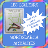 French colors word search activities - Les couleurs