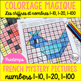 French colour by number Spring Coloriage Magique Printemps 1-10, 1-20, 1-100