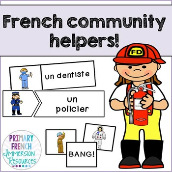 French community helpers - flashcards, word wall cards, and games
