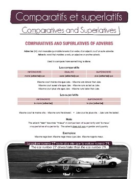 French : comparatives and superlatives (adjectives, adverbs, nouns and verbs).