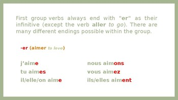 French conjugation - 1st