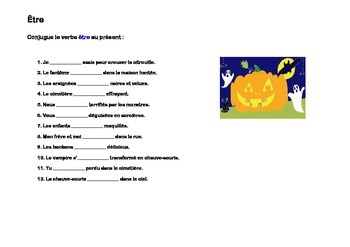 French conjugation present indicative Halloween