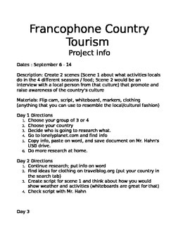French country tourism project paper