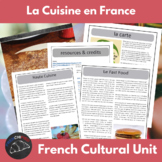 French cuisine - Cultural activity unit - readings, poster
