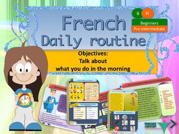 French daily routine in the morning, ma routine full lesson for beginners