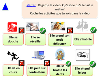 French daily routine in the morning, ma routine ppt for beginners