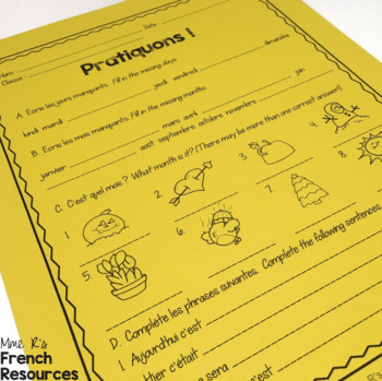 French dates and numbers speaking and writing activities