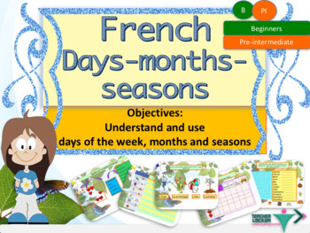 French days months seasons, jours mois saisons full lesson for beginners