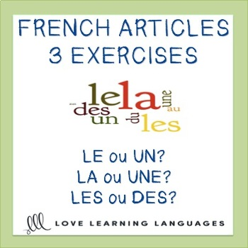 French definite and indefinite articles worksheets