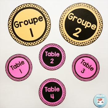 French desk name plates | name tags | table numbers POLKA DOTS