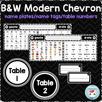 French desk name plates   name tags   table numbers MODERN CHEVRON