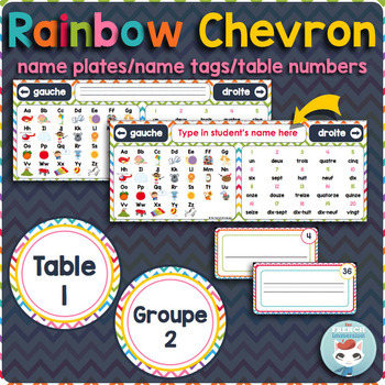 French desk name plates | name tags | table numbers RAINBOW CHEVRON