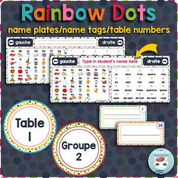 French desk name plates   name tags   table numbers RAINBOW DOTS
