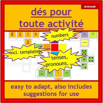 French immersion and core French dice: various faces + blank formatted templates