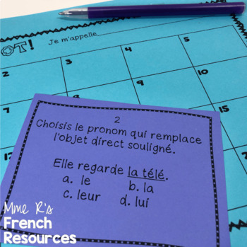 French direct and indirect objects task cards and scoot game /COD et COI