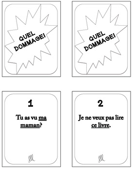 French direct object pronouns game - Quel Dommage!