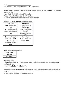 French direct object pronouns introduction notes and practice