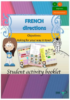 French directions in town, les directions dans la ville booklet for beginners