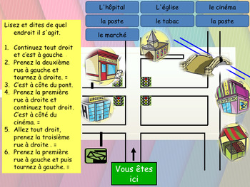 french directions in town by esl and french resources by teacherlocker teachers pay teachers. Black Bedroom Furniture Sets. Home Design Ideas